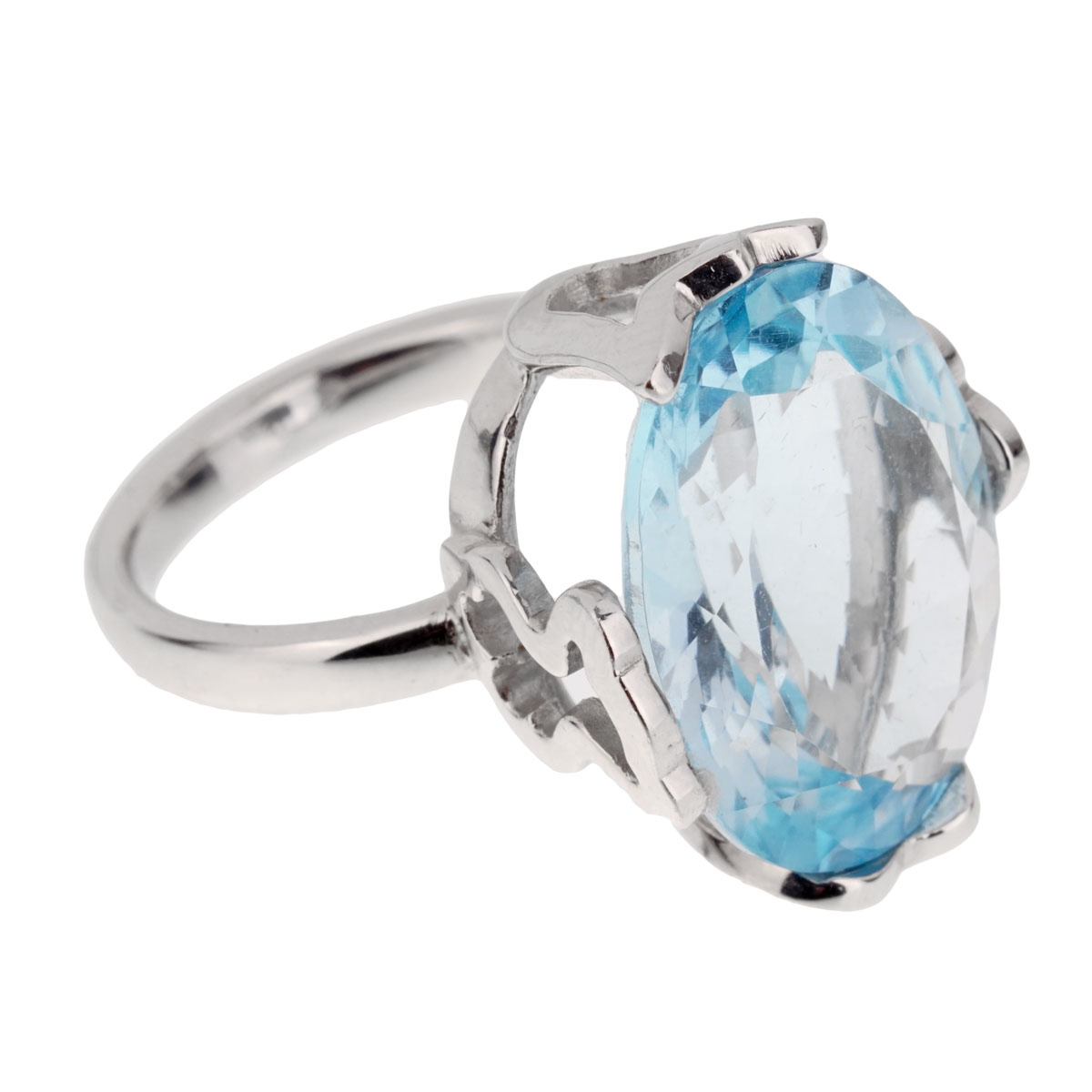 Tous 21ct Blue Topaz White Gold Cocktail Ring - Tous Jewelry