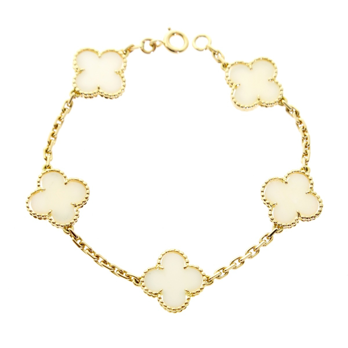 Van Cleef Arpels White Coral Alhambra Bracelet - Van Cleef and Arpels Jewelry