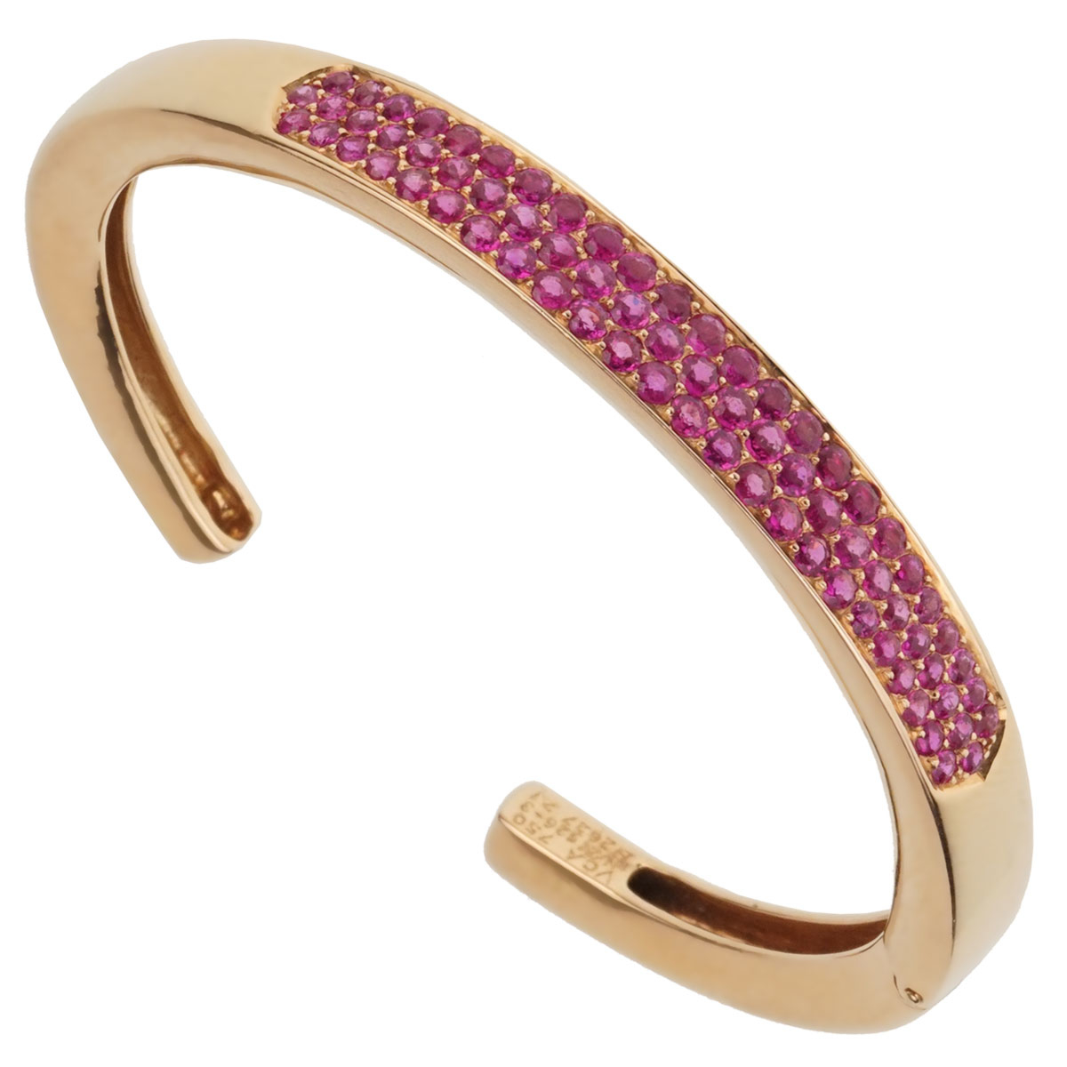 Van Cleef and Arpels Pink Sapphire Rose Gold Bangle - Van Cleef and Arpels Jewelry