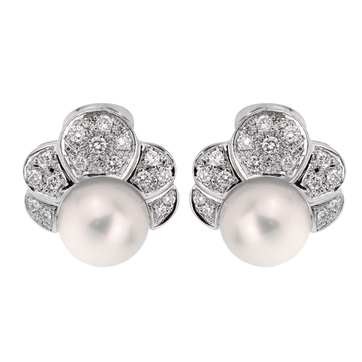 Estate Pearl Diamond White Gold Earrings - Estate Jewelry