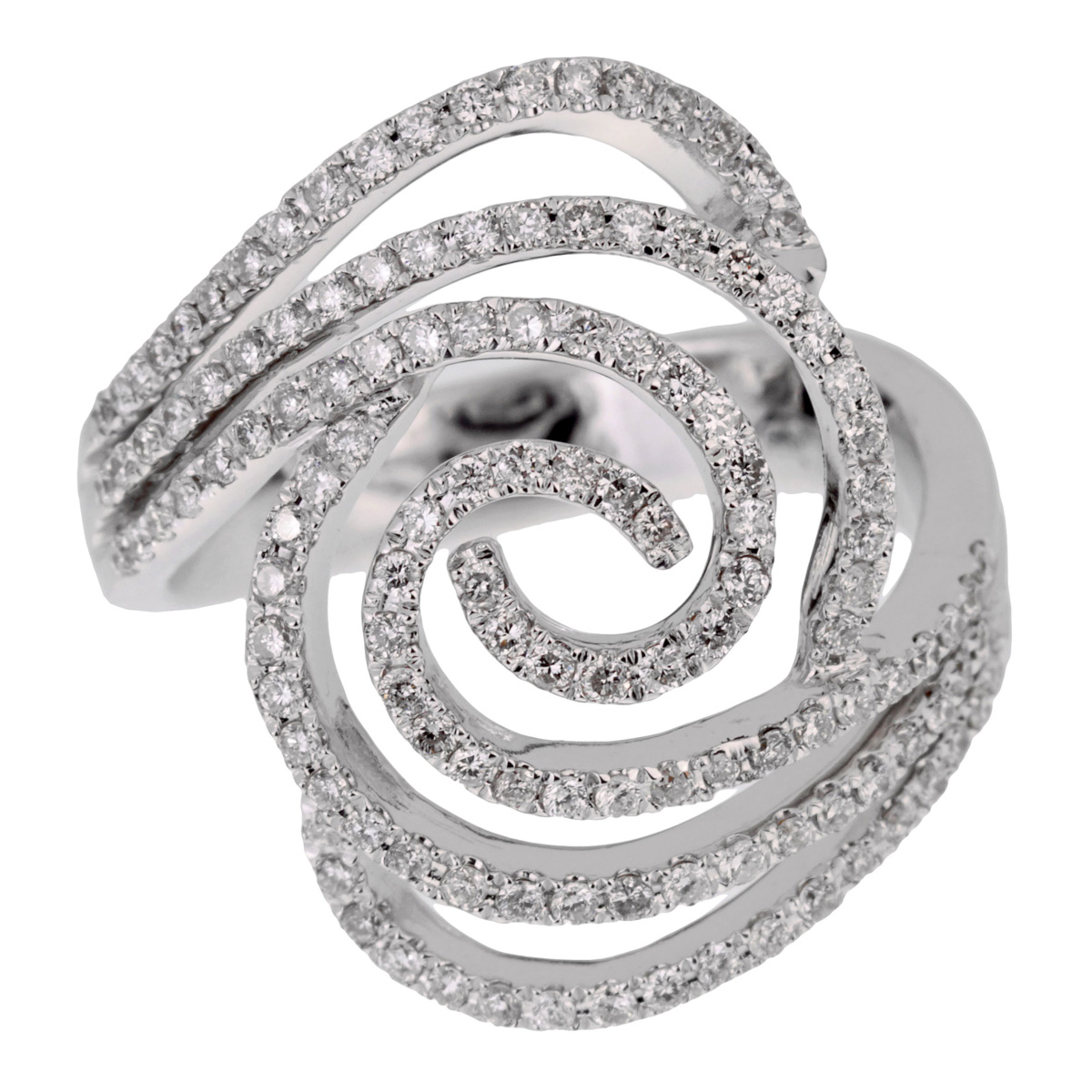 Ladies White Gold Diamond Swirl Cocktail Ring - Estate Jewelry