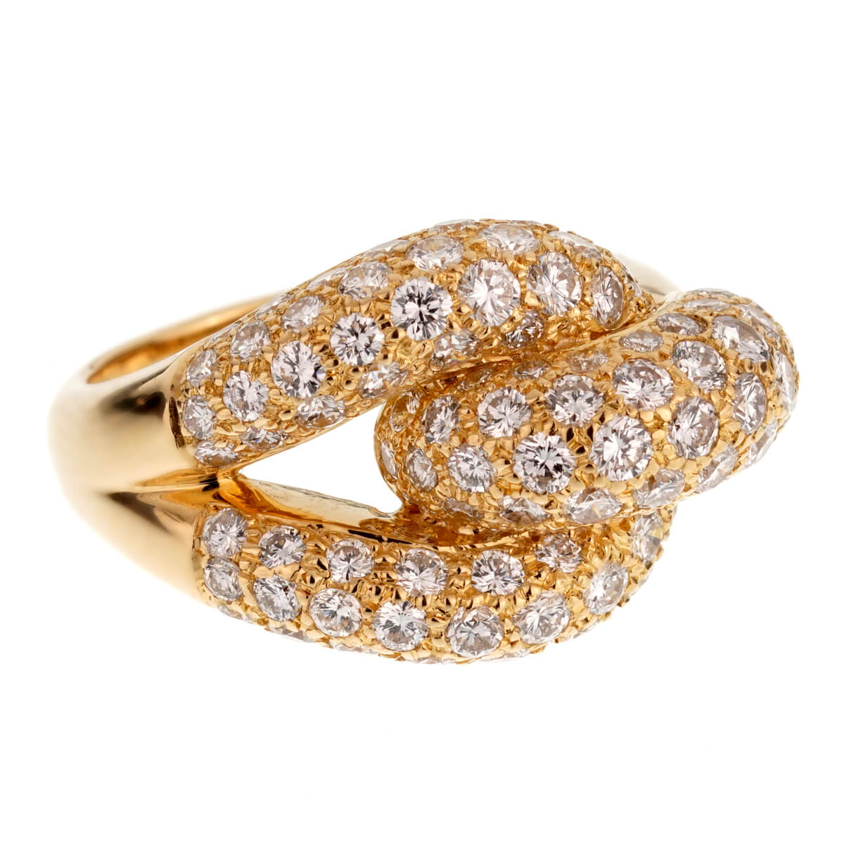 Cartier Diamond Knot Yellow Gold Cocktail Ring For Sale