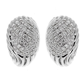 Boucheron Vintage White Gold Diamond Swirl Earrings