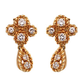 Boucheron Vintage Diamond Yellow Gold Drop Earrings