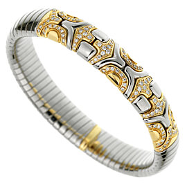 Bulgari Alveare Diamond Stainless Steel Gold Cuff Bracelet