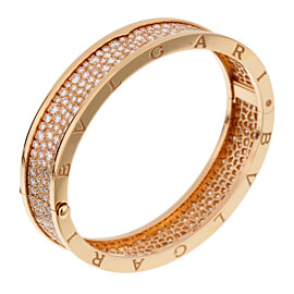 Bulgari Bzero Pave Diamond Rose Gold Bangle