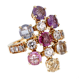 Bulgari Multi Gemstone Diamond Yellow Gold Ring