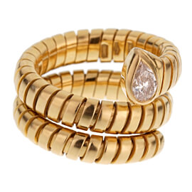 Bulgari Tubogas Pear Diamond Yellow Gold Ring