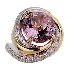 Cartier Trinity Ruban Amethyst Diamond White Gold Ring
