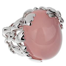 Christian Dior Pink Quartz Diamond White Gold Cocktail Ring
