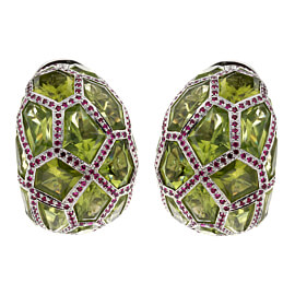De Grisogono Peridot Ruby White Gold Hoop Earrings