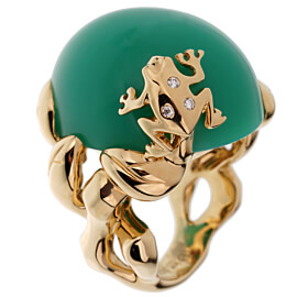 Dior Chrysoprase Diamond Yellow Gold Cocktail Ring