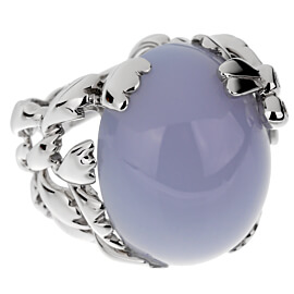 Christian Dior 40ct Blue Chalcedony Diamond Gold Cocktail Ring