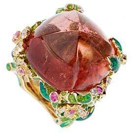 Christian Dior Diorella 45ct Rubellite Diamond Yellow Gold Cocktail Ring