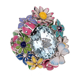 Dior Aquamarine Diorette Flower Cocktail Diamond Ring