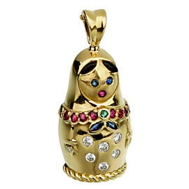 Fred of Paris Matryoshka Diamond Doll Gold Pendant Necklace