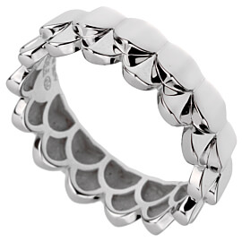 Fred of Paris Double Arc White Gold Band Ring Sz 6 1/2