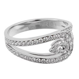 Fred of Paris .86ct Lovelight Pear Diamond Platinum Ring