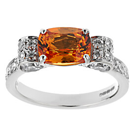 Graff Orange Sapphire Diamond White Gold Cocktail Ring