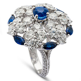 Graff Sapphire Diamond White Gold Cocktail Ring