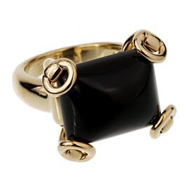 Gucci Horsebit Onyx Yellow Gold Cocktail Ring