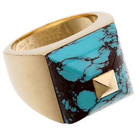 Hermes Turquoise Yellow Gold Cocktail Ring