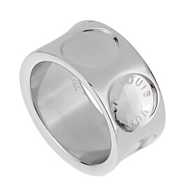 Louis Vuitton Empreinte White Gold Band Ring
