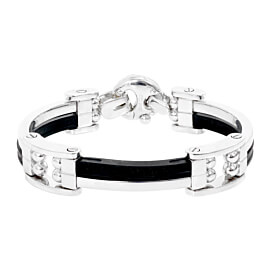 Mens Baraka 18k White Gold and Rubber Bracelet BR21087