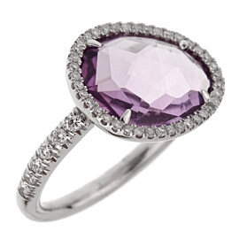 Mimi Milano Amethyst Diamond White Gold RIng