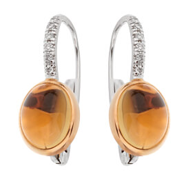 Mimi Milano Citrine Diamond White Gold Drop Earrings