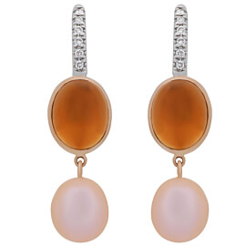 Mimi Milano Citrine Pearl Diamond 18k Gold Earrings