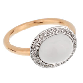 Mimi Milano Agate Diamond Rose Gold Ring