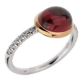 Mimi Milano Garnet Diamond White Gold Ring