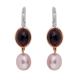 Mimi Milano Garnet Pearl Diamond 18k Rose Gold Earrings