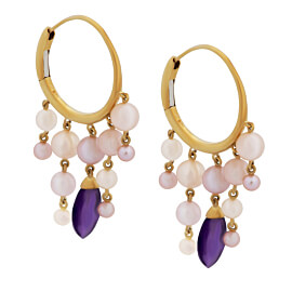 Mimi Milano Amethyst Pearl 18k Yellow Gold Hoop Earrings