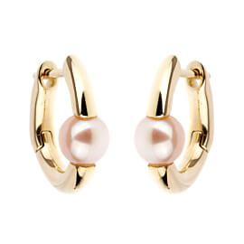 Mimi Milano Pearl Gold Hoop Earrings