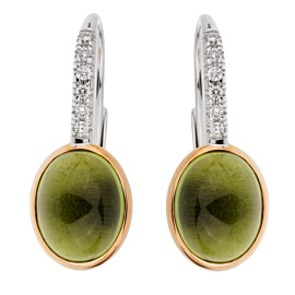 Mimi Milano Peridot Diamond White Gold Earrings