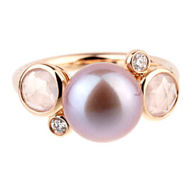 Mimi Milano Quartz Pearl Diamond Rose Gold Ring