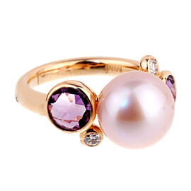Mimi Milano Amethyst Pearl Diamond Rose Gold RIng
