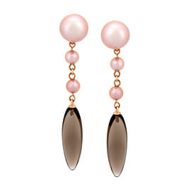Mimi Milano Smoky Quartz Pearl 18k Rose Gold Earrings