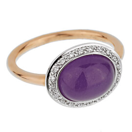 Mimi Milano Violet Jade Diamond Rose Gold Ring