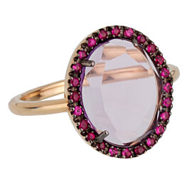 Pomellato Rose Gold 2 Carat Amethyst Cocktail Ring Sz 5