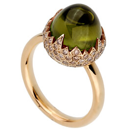 Pomallato 6 Carat Peridot Diamond Rose Gold Ring