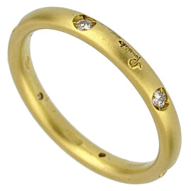 Pomellato Matte Finish Diamond Yellow Gold Band Ring Sz 4 1/4