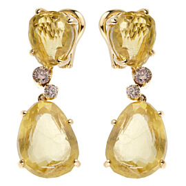 Pomellato 12ct Lemon Quartz Champagne Diamond Drop Earrings