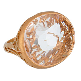 Pomellato 10 Carat White Quartz Cocktail Rose Gold Ring Sz 6 1/4