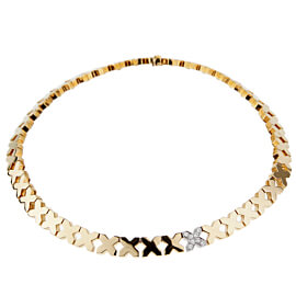 Tiffany & Co Gold Diamond X Choker Necklace