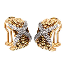 Tiffany & Co Schlumberger Rope Six-Row Diamond Gold Earrings