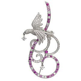 Van Cleef Arpels Birds of Paradise Pink Sapphire Diamond Brooch Pendant
