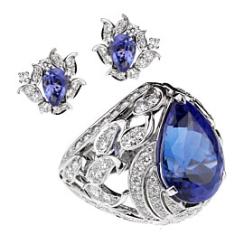 Van Cleef & Arpels Les Jardins 18k White Gold Tanzanite & Diamond Suite